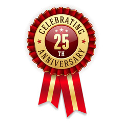 Gold 25th anniversary badge, rosette with red ribbon on white background