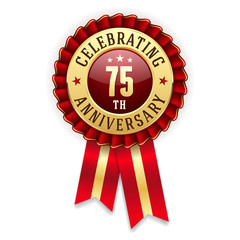 Gold 75th anniversary badge, rosette with red ribbon on white background