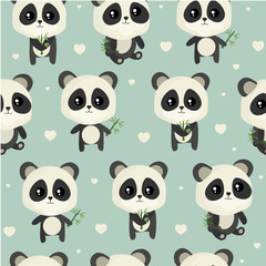 Seamless pattern  to Valentine's Day with cute  panda bear.