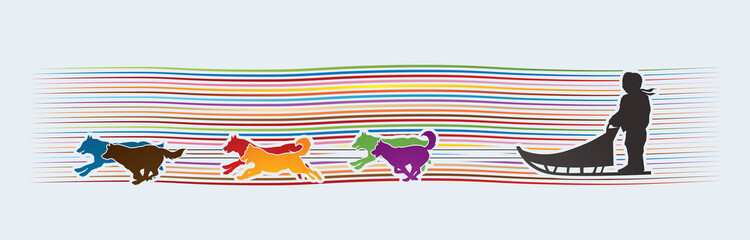 Sled Dogs designed on line rainbows background graphic vector.