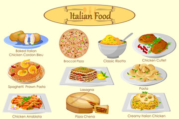 Collection of delicious Italian food