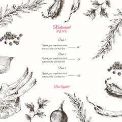 vector meat steak sketch drawing designer template. food hand-drawn backdrop for corporate identity