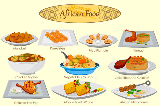 Collection of delicious African food
