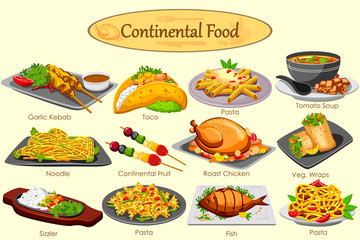 Collection of delicious Continental food