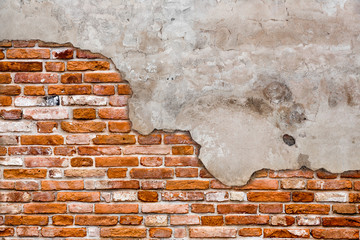 Old brick wall torn