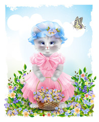 Portrait of the  funny cat dressed in  the pink frock with baske