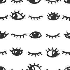 Seamless pattern - open and closed eyes