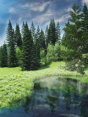 Wall Mural - Wiosenny krajobraz z lasem i jeziorem