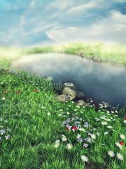 Wall Mural - Słoneczny krajobraz z wiosenną łąką i jeziorem
