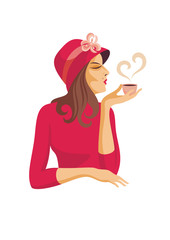 lady in a hat drinking coffee