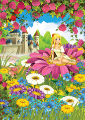 Cartoon scene of a girl on the flower - castle in the background - illustration for children