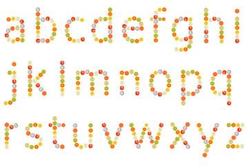 a to z alphabet on white background