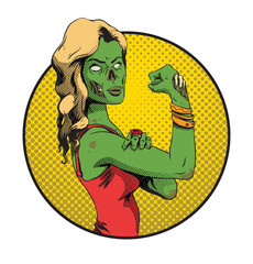 Vector image of Halloween round yellow frame with cartoon image of a green zombie young girl with long blonde hair in a red dress on a white background. Halloween. Vector illustration.