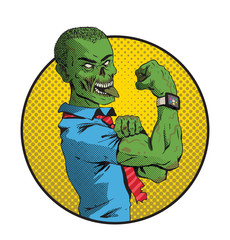 Vector image of Halloween round yellow frame with cartoon image of a green zombie shaven-headed young man in a blue shirt and red tie on a white background. Halloween. Vector illustration.