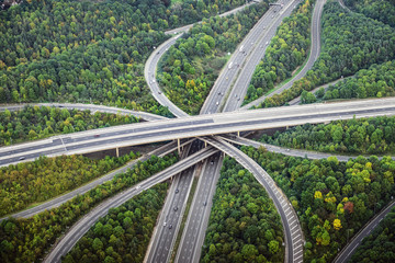 Aerial view of intersecting highways near trees, London, England