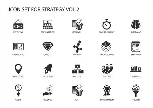 Strategy icon set. Various symbols for strategic topics like optimization,dashboard,prioritization,milestone, costs, revenue