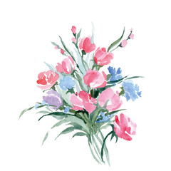 Watercolor painting of bouquet of a wild flowers. Summer background. Element for design. Vector illustration.