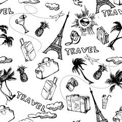 Travel seamless background. Hand drawn summer holidays pattern. Vector illustration