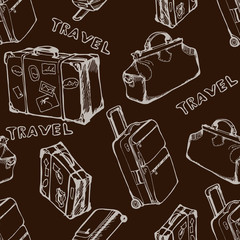 Suitcases and bags. Seamless background. Hand drawn pattern. Vector illustration
