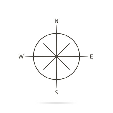 Icon compass on white background and flat design
