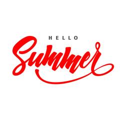 Hello Summer. Typographic design, Hand written . Summer.Summer design. Lettering,Summer Concept.