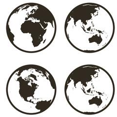 Set globe earth icon flat style on white background