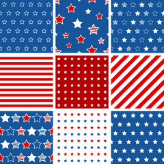 Set of 9 abstract geometric seamless pattern with stars and stri