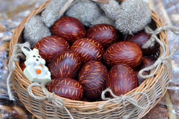 brown painted easter eggs