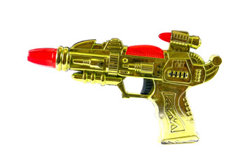 Plastic ray gun isolated on white background,Toy gun