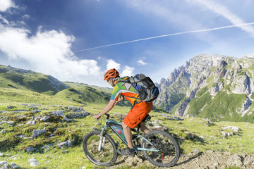 e bike rider mountain trail