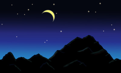 Beautiful mountain landscape and the starry sky