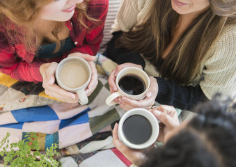 High angle view of women drinking coffee