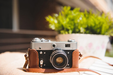 Old Camera in Leather Cover