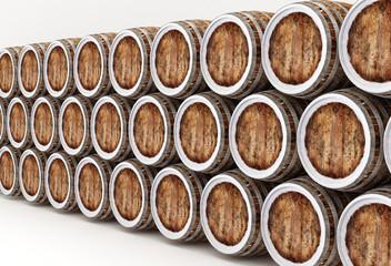 Wood barrels isolated