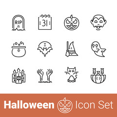 Halloween outline icon set of 12 thin modern stylish icons