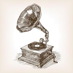 Gramophone sketch style vector illustration