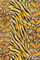 texture of print fabric striped tiger and snake leather