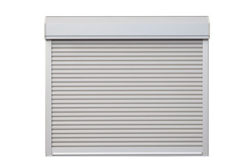 White metal roller window shutter and white brick wall .