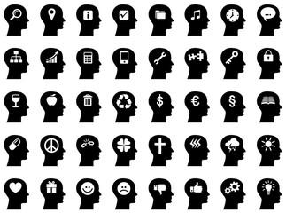 Sammlung/Set: Gesichter von der Seite mit Icons im Gehirn / schwarz-weiß, Vektor, freigestellt