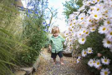 Caucasian baby boy walking in garden