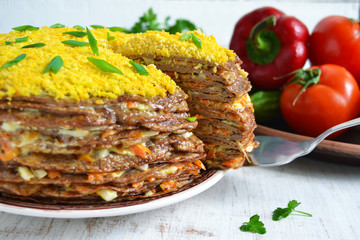 Liver cake, cake of liver pancakes stuffed with carrots