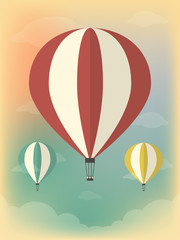Vector Illustration of a Hot Air Balloon in the Sky. Flat Design Style.