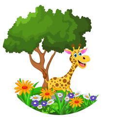 giraffe cartoon in the jungle