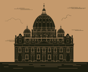 City buildings graphic template. Saint Pyotr Cathedral.