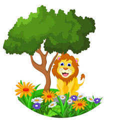 lion cartoon sitting in the jungle