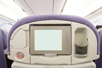 LCD screen in airplane seat