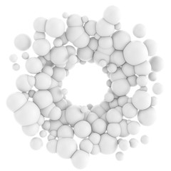 3D illustration of abstract molecular structure on white backgro