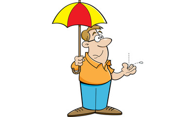 Cartoon illustration of a man holding an umbrella.