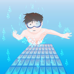 clip art of a male underwater