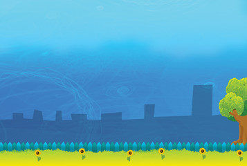 Cartoon background - park view with space for text - illustration for children